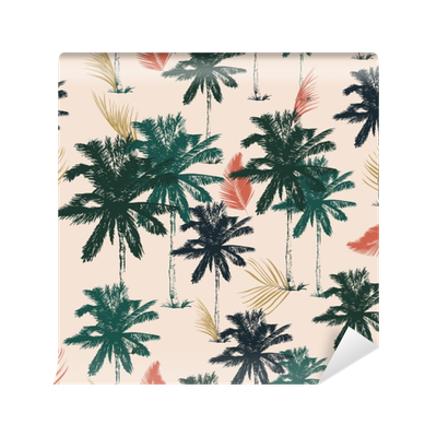 Palm tree pattern seamless in simple style vector illustration Wall Mural •  Pixers® - We live to change