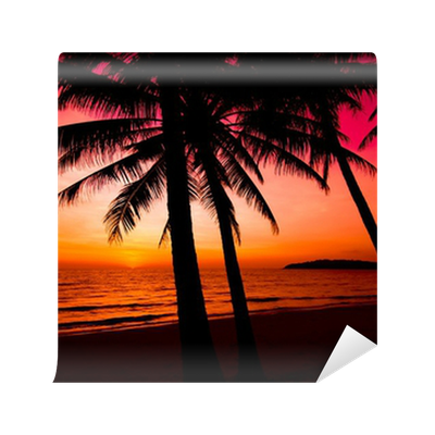 Palm Trees Silhouette On Sunset Tropical Beach Wall Mural O PixersR We Live To Change