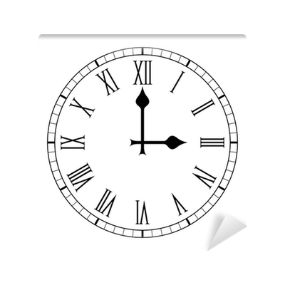 Plain Roman Numeral Clock Face On White Wall Mural