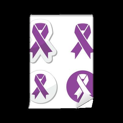 Purple Ribbon Pancreatic Cancer Testicular Cancer Symbol Wall