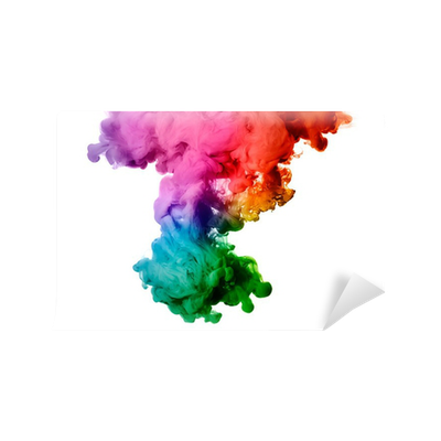 rainbow of acrylic ink in water. color explosion wall