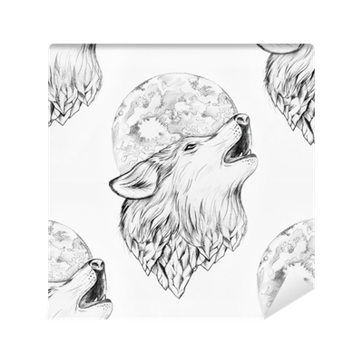 Seamless Drawing Of A Wolf Howling At The Moon On A White Background Wall Mural Pixers We Live To Change