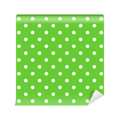 Seamless Green Polka Dot Background Pattern Wall Mural