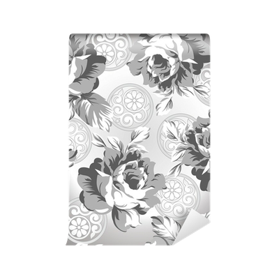 Seamless Silver Rose Flower Background Wall Mural O PixersR We Live To Change