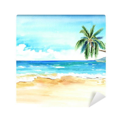 seascape. summer tropical beach with golden sand and