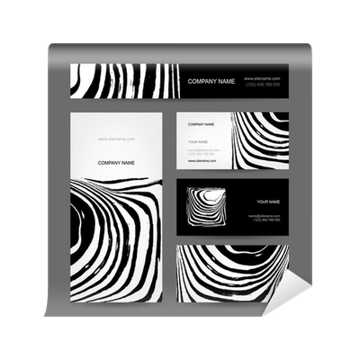 Set of abstract creative business cards zebra print design Wall Mural \u2022 Pixers® \u2022 We live to change