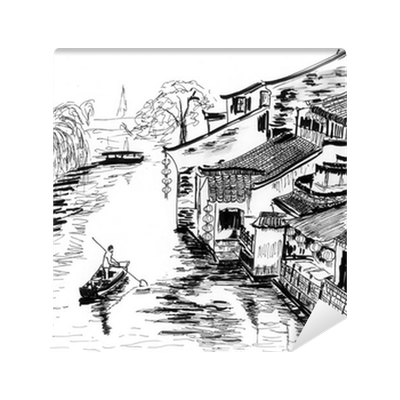 Sketch The River Village Wuzhen Wall Mural Pixers We Live To Change
