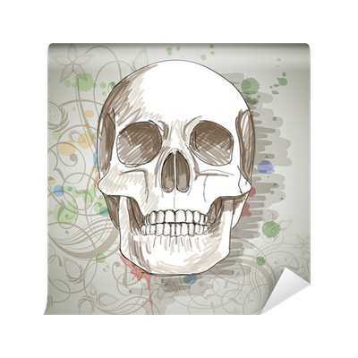 Skull Sketch Floral Calligraphy Ornament A Stylized Orchid Wall Mural Pixers We Live To Change