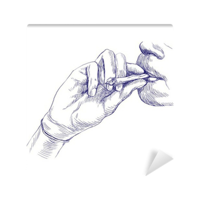 Smoking Marijuana Joint Hand Drawing This Is Original Sketch Wall Mural Pixers We Live To Change
