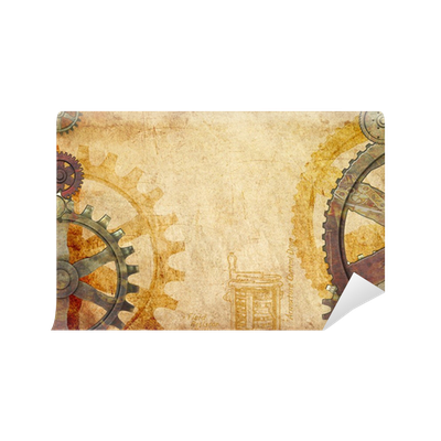 Steampunk Gears And Cogs Background Wall Mural Pixers