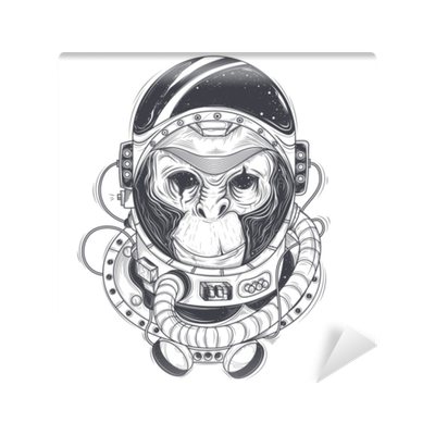 Vector Hand Drawn Illustration Of A Monkey Astronaut Chimpanzee In A Space Suit In The Style Of Engraving Print For T Shirts Template Sketch Tattoo Design Element Wall Mural Pixers We