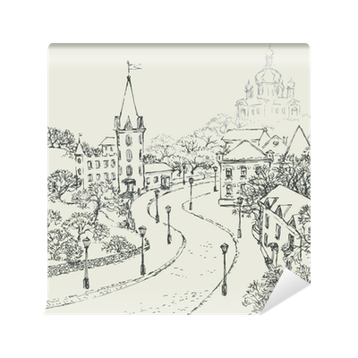 Vector Sketch Of The City Landscape Of The Old Street Wall Mural Pixers We Live To Change