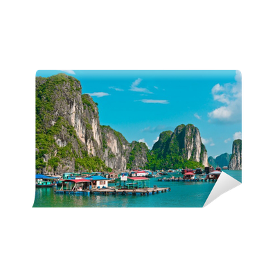 View of floating village in halong bay wall mural pixers for Bay view wall mural