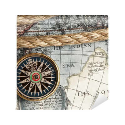 Vintage Compass And Old Map Wall Mural O PixersR We Live To Change
