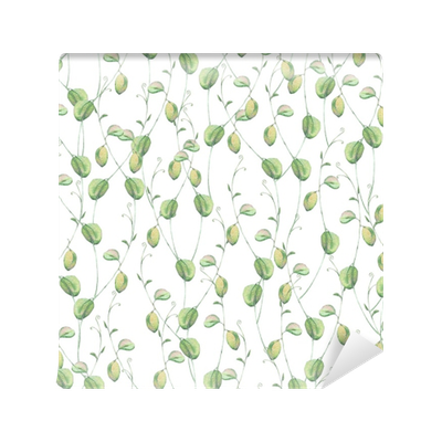 Watercolor seamless natural pattern with green leaves Vinyl Wall Mural