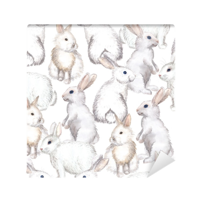 white rabbits background Vinyl Wall Mural