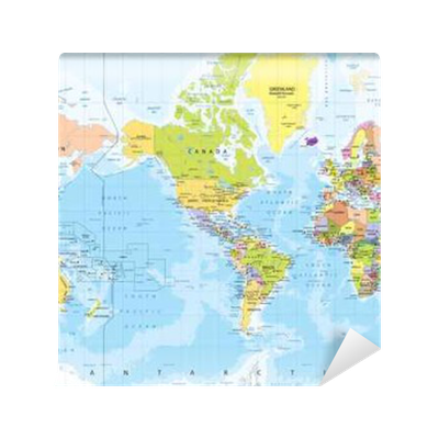 World map america in center bathymetry wall mural pixers we world map america in center bathymetry wall mural pixers we live to change gumiabroncs Images