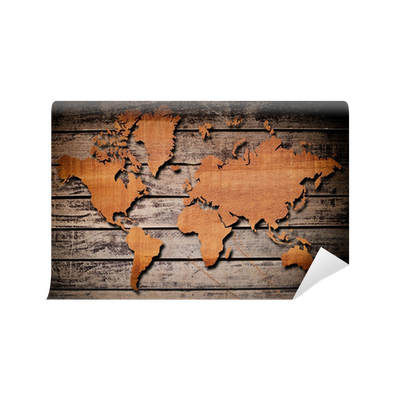 World map carving on wood plank. Wall Mural • Pixers® - We live to ...