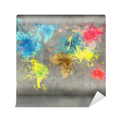 World map made of paint splashes on concrete wall background wall world map made of paint splashes on concrete wall background wall mural pixers we live to change gumiabroncs Images
