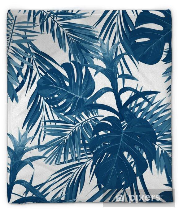 Coperta di peluche Disegnato a mano senza motivo floreale con fiori di guzmania, monstera e foglie di palma reale. sfondo vettoriale hawaiano esotico. - Piante & Fiori