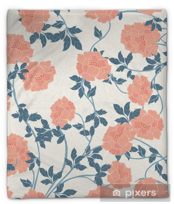 Coperta di peluche Modello astratto di eleganza con sfondo floreale. - Piante & Fiori