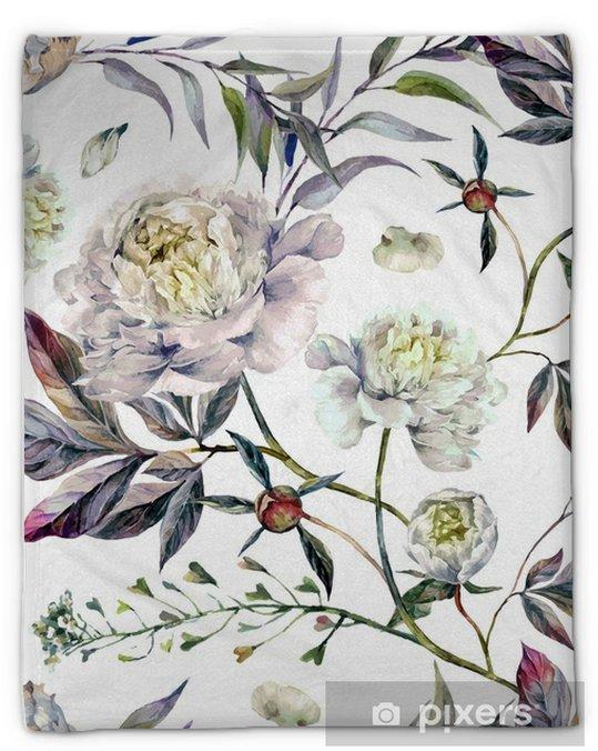 Couverture en molleton Aquarelle Moelleux blancs - Plantes et fleurs