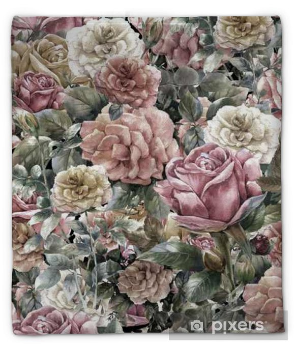 Couverture en molleton Aquarelle sur papier de fleurs, rose, seamless - Ressources graphiques