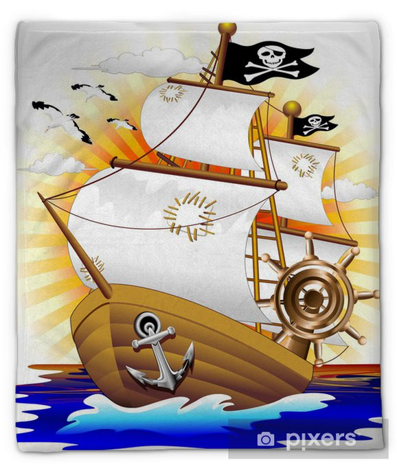 Couverture en molleton Cartoon Pirate Ship Pirate Ship - Vecteur - Destin