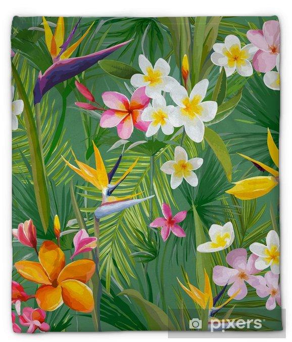 Couverture en molleton Feuilles de palmiers tropicaux et fleurs, jungle feuilles fond de motifs floraux vectorielle continue - Plantes et fleurs