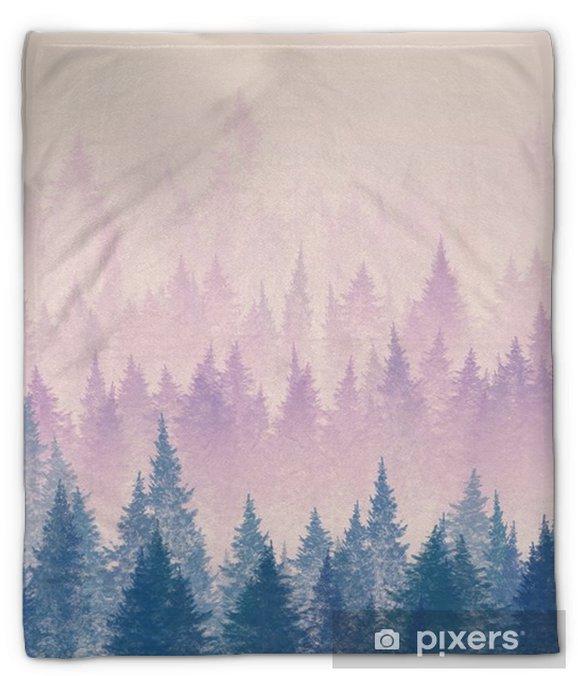 Couverture en molleton Forêt dans le brouillard. illustration minimaliste. dessin numérique. - Paysages