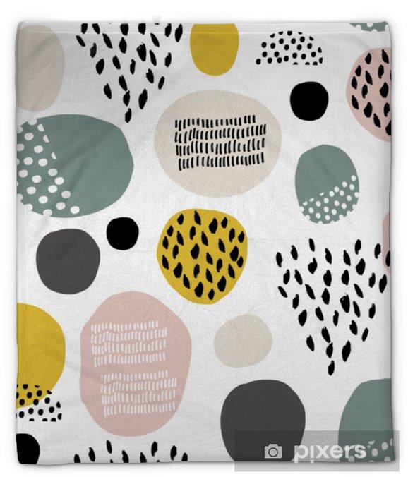Couverture en molleton Modèle fdashion sans soudure avec des taches dessinées à la main, des points, des textures de brosse. texture moderne créative. idéal pour les tissus, illustration vectorielle textile - Ressources graphiques