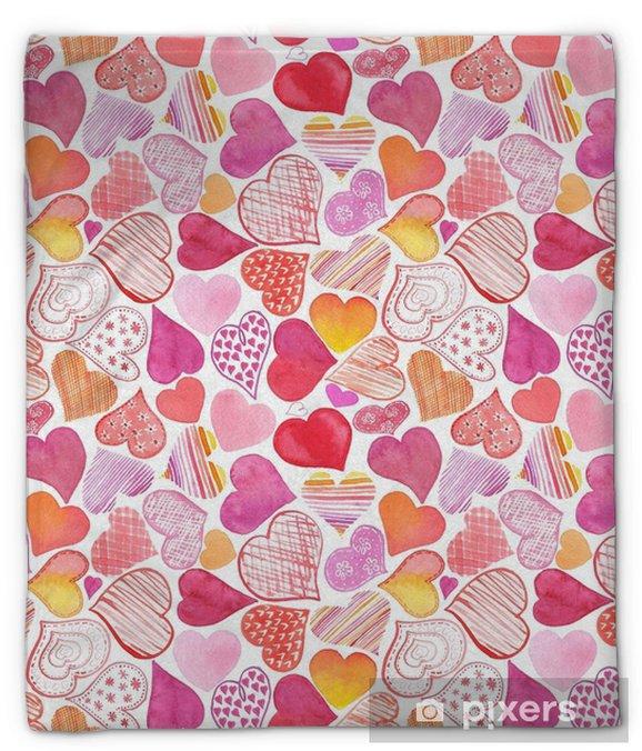 Couverture en molleton Modèle sans couture avec coeur aquarelle. backgrou de la Saint-Valentin - Style de vie