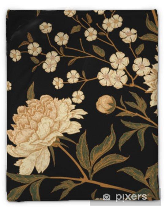Couverture en molleton Modèle sans couture avec des faisans d'oiseaux exotiques et des fleurs de pivoine. - Plantes et fleurs