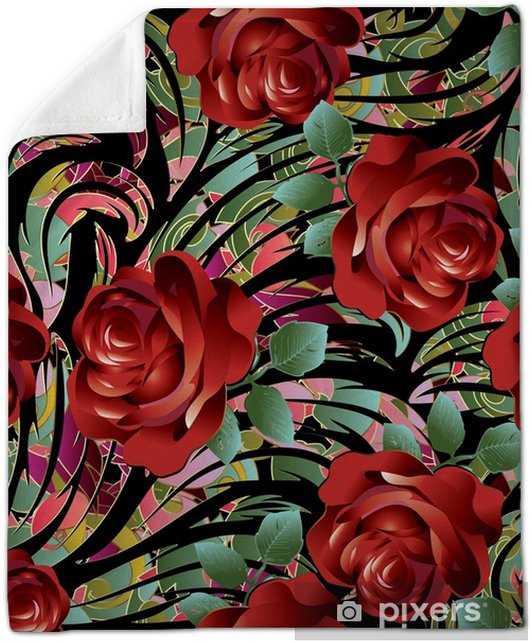 Couverture En Molleton Modele Sans Couture De Roses Rouges 3d