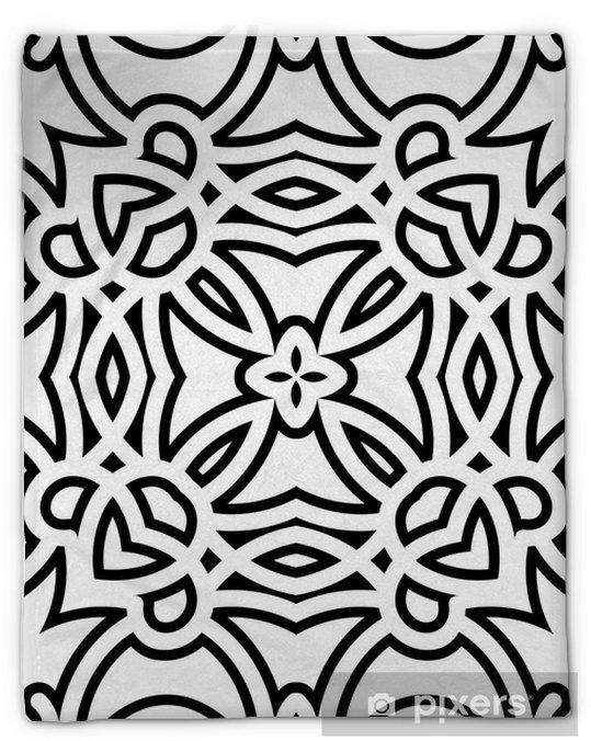 Couverture en molleton Treillis noir et blanc, motif géométrique parfaite - Styles