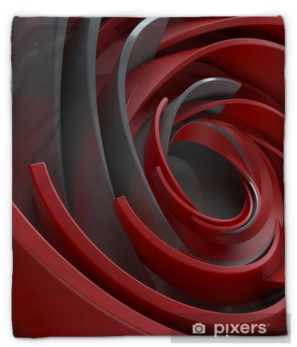 Koc pluszowy 3d renderingu abstrakta tło. skręcone, koncentryczne kształty. obracane elementy o losowych rozmiarach z powierzchnią odbijającą. - Zasoby graficzne