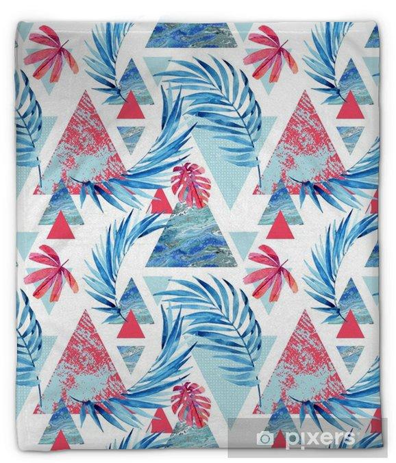 Koc pluszowy Abstrakcyjny akwarela trójkąt i egzotyczne liście wzór. - Rośliny i kwiaty