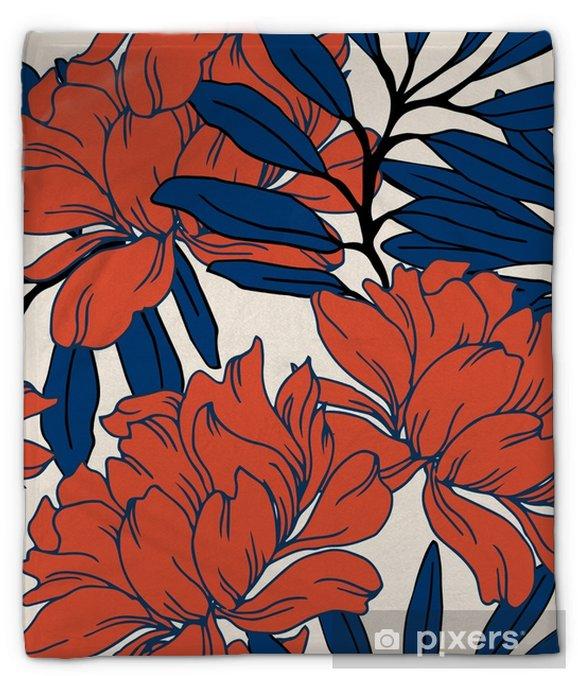 Koc pluszowy Abstrakcyjny wzór elegancji z kwiatów tle. - Rośliny i kwiaty