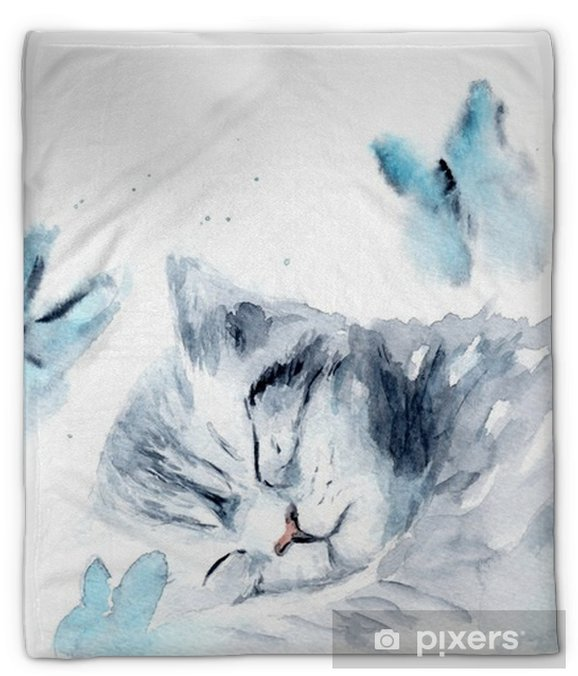 Koc pluszowy Akwarela kotek. naszkicować - Zwierzęta