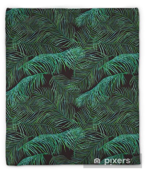 Koc pluszowy Akwarela liści palmowych saemless wzór na ciemnym tle. - Rośliny i kwiaty