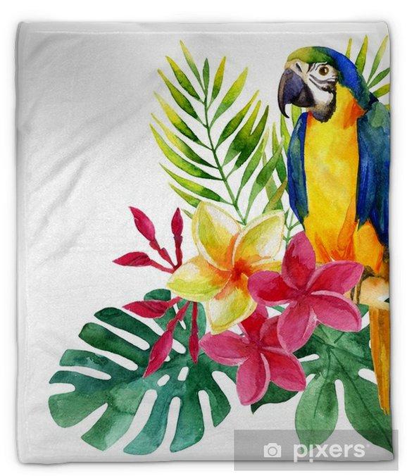Koc pluszowy Akwarela papuga z egzotycznych kwiatów i liści - Rośliny i kwiaty