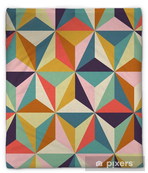 Koc pluszowy Bez szwu geometryczny wzór retro - Zasoby graficzne