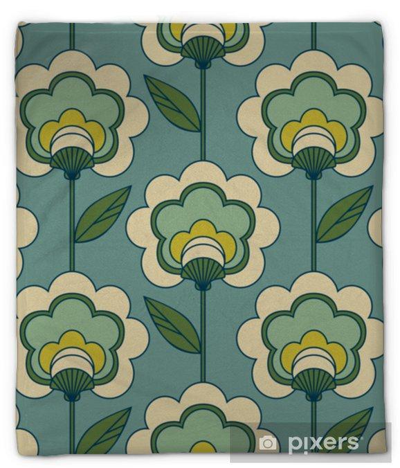 Koc pluszowy Bez szwu retro kwiatowy wzór - Zasoby graficzne