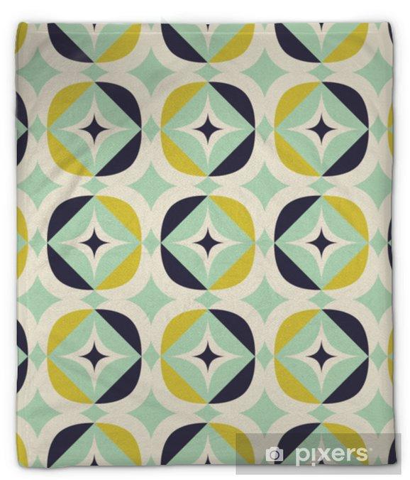 Koc pluszowy Bez szwu retro wzór w skandynawskim stylu z elementami geometrycznymi - Zasoby graficzne