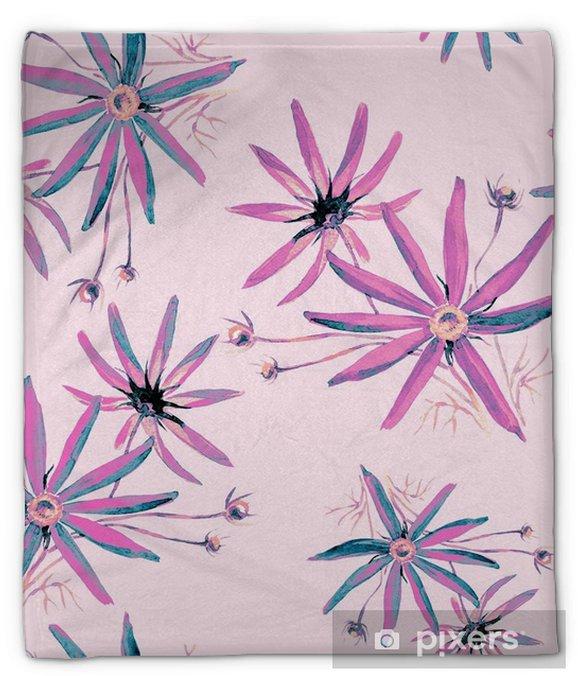 Koc pluszowy Bezszwowe tło wzór kwiatów kosmosu. - Zasoby graficzne
