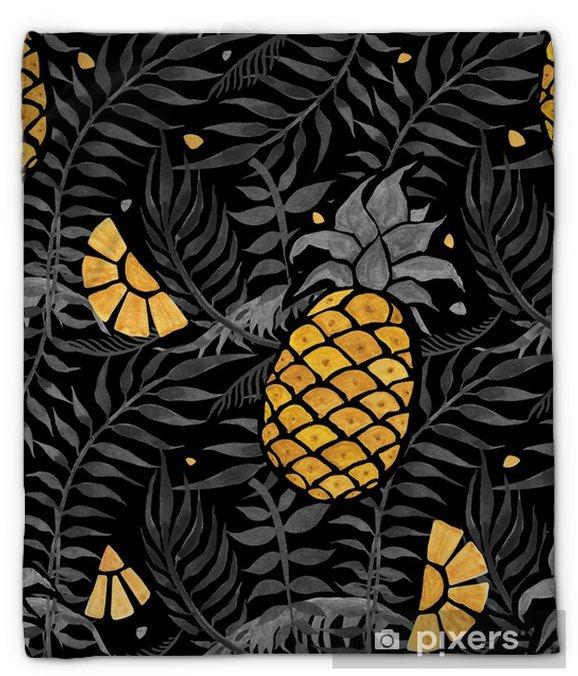 Koc pluszowy Bezszwowe tropikalny wzór z ananasem i liści palmowych. ręcznie rysowane akwarela ilustracja. - Zasoby graficzne