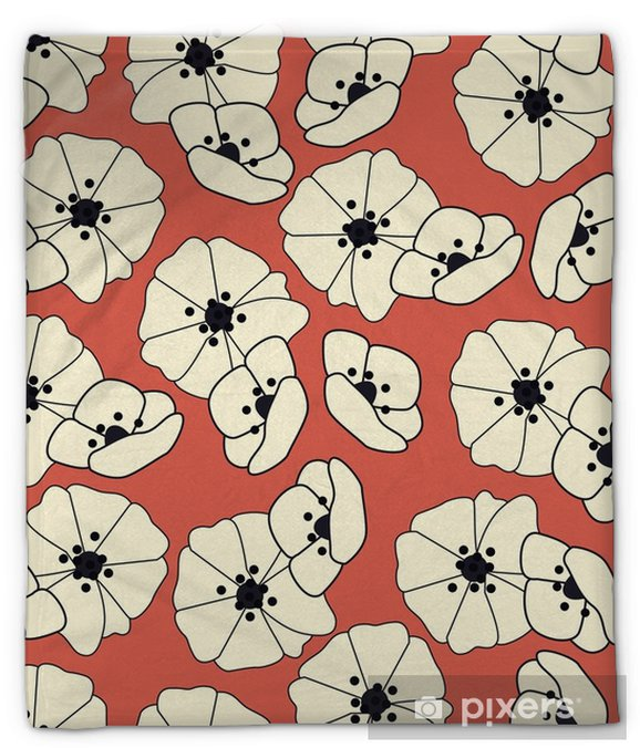 Koc pluszowy Bezszwowy wzór z kwiatami i kwiecistymi elementami, natury życie, wektorowa ilustracja - Rośliny i kwiaty