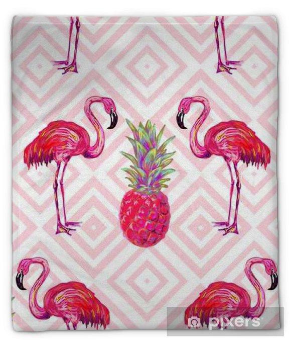 Koc pluszowy Bezszwowych letnich tropikalnych deseń z flamingo i ananasów wektora tła. Idealny do tapet, wypełnień wzorców, tła strony internetowej, tekstury powierzchni, tekstyliów - Zwierzęta