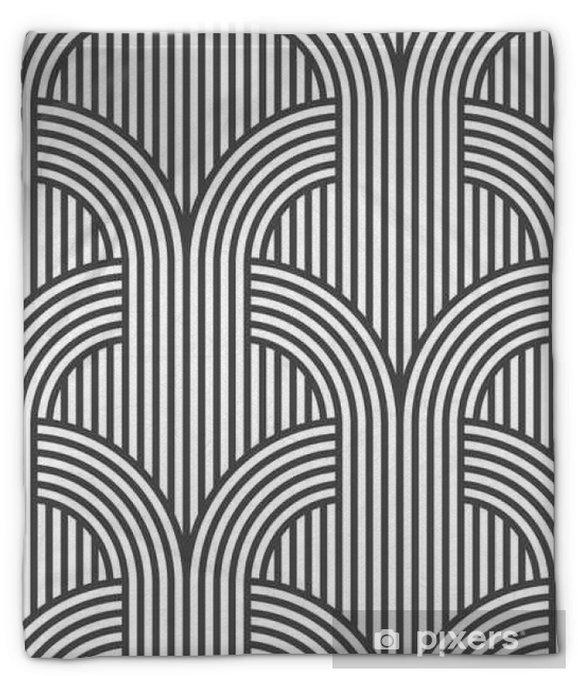 Koc pluszowy Czarno-białe paski geometryczne szwu - odmiana 5 - Zasoby graficzne