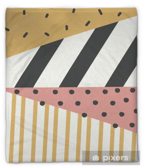 Koc pluszowy Geometryczny wzór memphis. abstrakcyjny trójkąt kolorowe tło z ręcznie rysowane paskiem i polka dot ilustracji wektorowych. - Zasoby graficzne